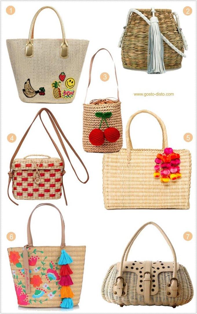 Bolsas de palha para férias de verão