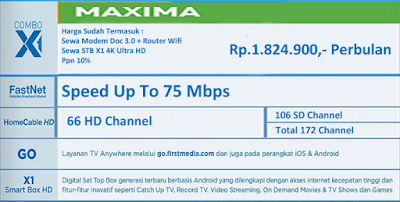 PROMO FIRST MEDIA PAKET COMBO MAXIMA X1 4K ULTRA HD