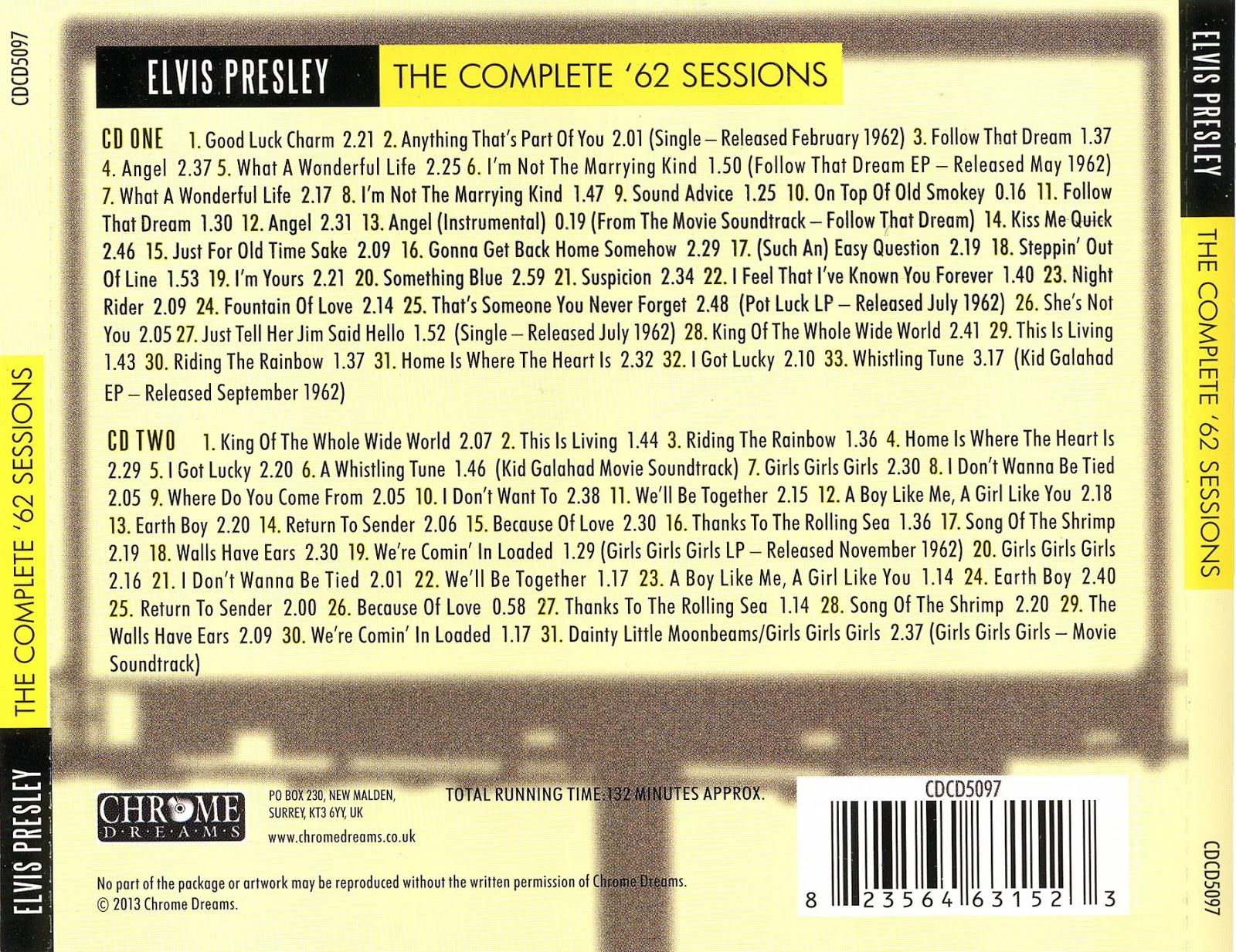 Reliquary: Elvis Presley - The Complete \'62 Sessions (Chrome Dreams)