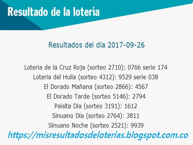 Como jugo la lotería anoche | Resultados diarios de la lotería y el chance | resultados del dia 26-09-2017