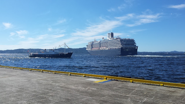 Cruise ship Zuiderdam in Bergen, Norway; Holland America Line; Fjords cruise