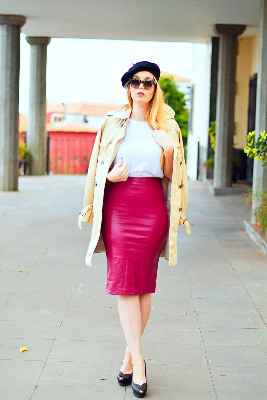 dresslink, celine, opticalh, gafas havana, falda polipiel burdeos, nery hdez , estilo francés,