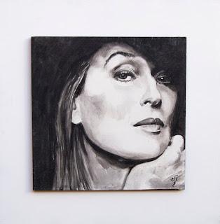 Acuarela sobre tabla. Meryl Streep