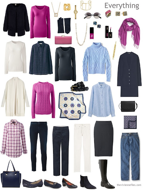 16-piece travel capsule wardrobe in navy, hot pink, light blue and ivory, with accessories