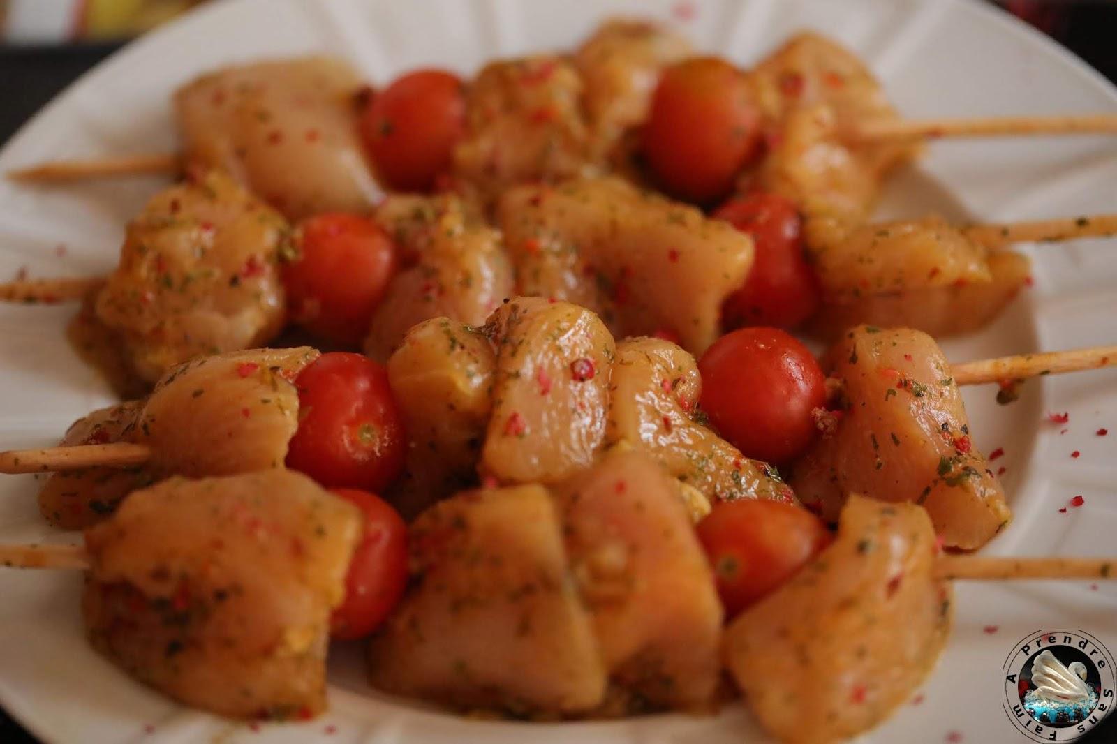 Brochettes de poulet thym citron