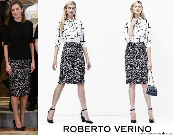 Queen Letizia wore Roberto Verino Jacquard pencil skirt