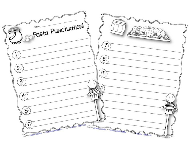 Free pasta punctuation printable from Around the Kampfire blog