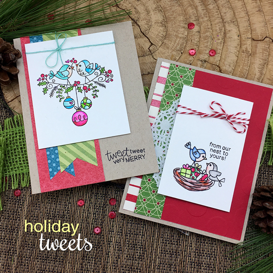 Bird Christmas Cards by Jennifer Jackson | Holiday Tweets Stamp Set by Newton's Nook Designs #newtonsnook