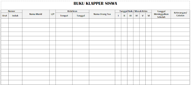 Download Format Buku Klaper PAUD/ TK/ RA/ KB Docx