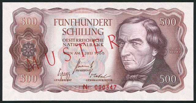 Austria money currency euro 500 Austrian Schilling banknote