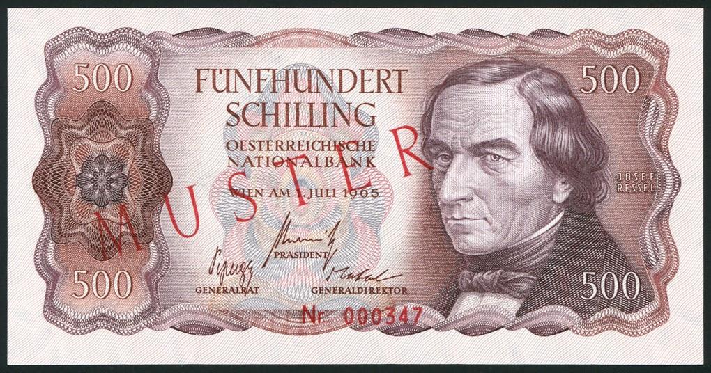 Austria Banknotes 500 Austrian Schilling Banknote Of 1965 Joseph Ressel World Banknotes