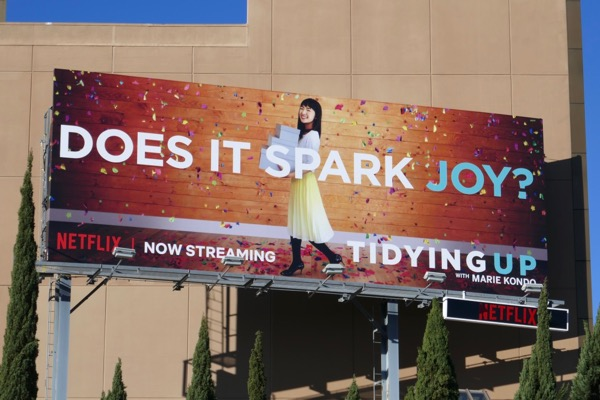 Tidying Up Marie Kondo Does it spark joy billboard