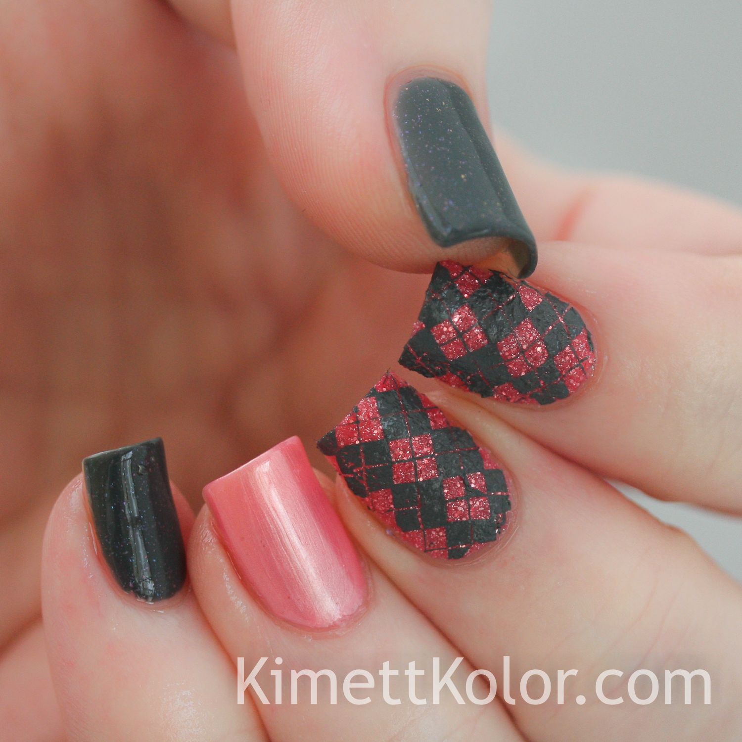 KimettKolor #whencolourscollide grey pink nail art