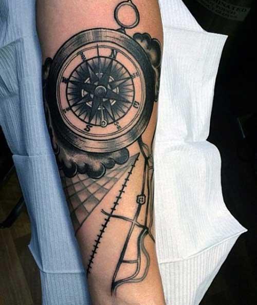 black compass tattoo siyah pusula dövmesi