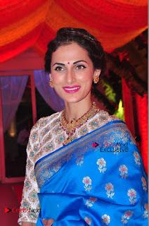 Actress Model Shilpa Reddy Exclusive Stills in Blue Saree at Vijay Karan Aashna Wedding  0004.JPG