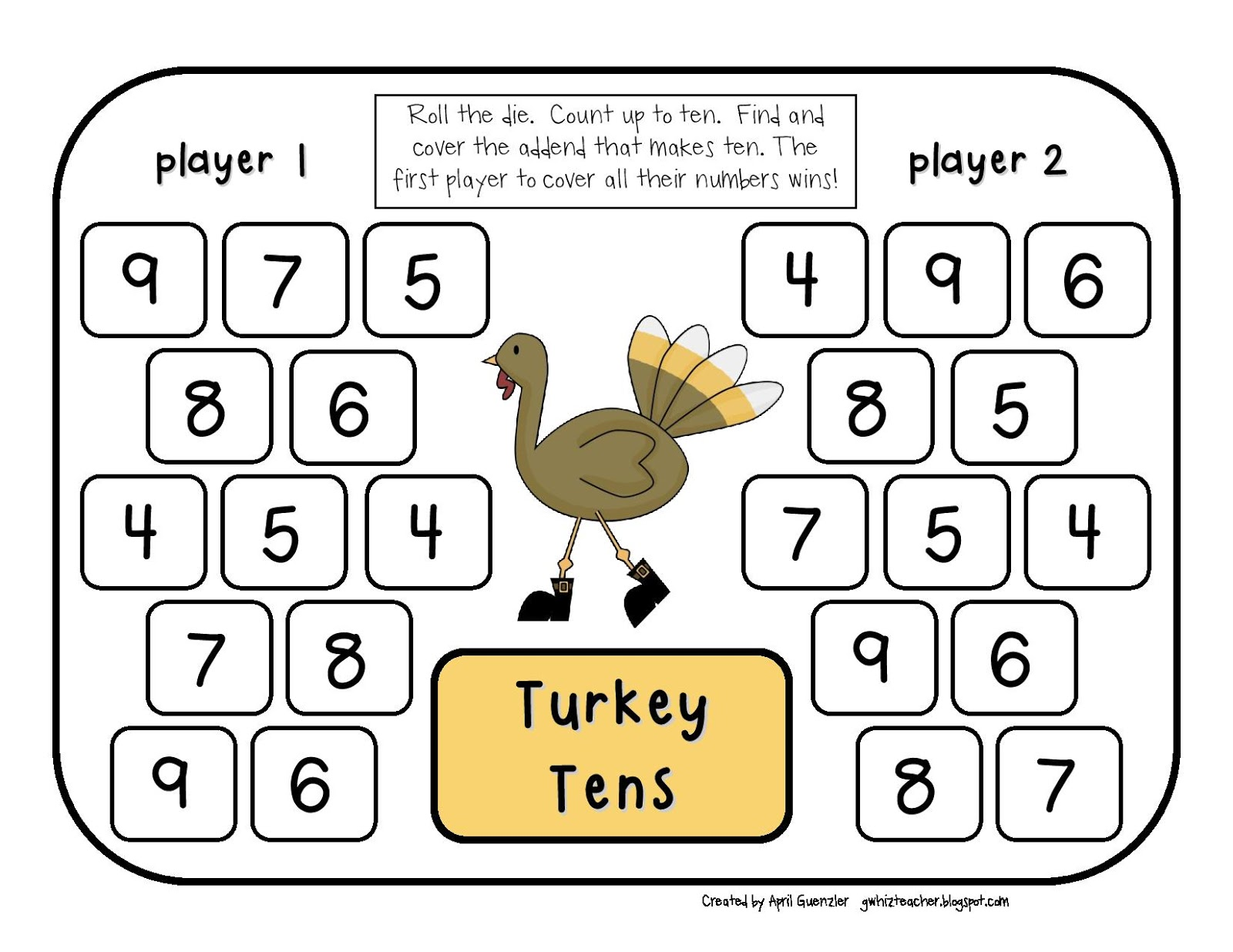 Gwhizteacher Thanksgiving Math Game Freebie