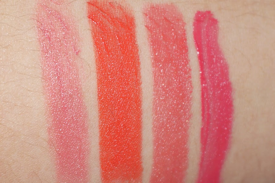(L-R) Colour Collection Lipstick in Crema, Wet n Wild Mega Last in 24 Carrot Gold, Maybelline SoNude in Rosy Rebel, NYX Soft Matte in Antwerp
