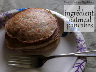 Super easy 3 ingredient oatmeal pancakes.