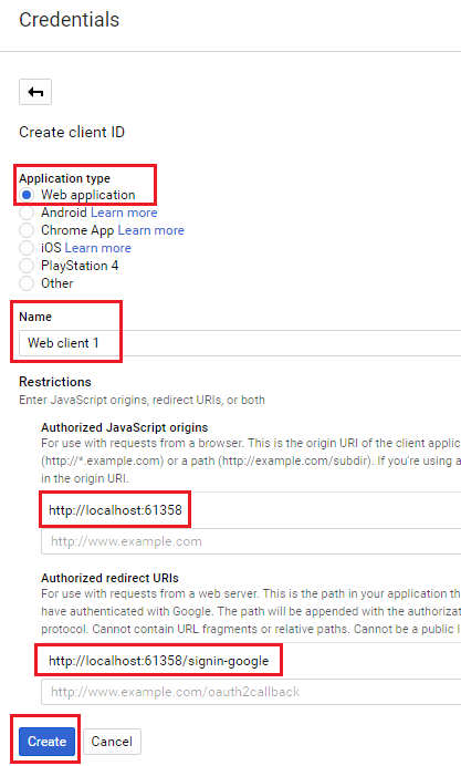 google developer console register app