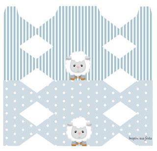 Cajas de Ovejita Bebé en Celeste para imprimir gratis.