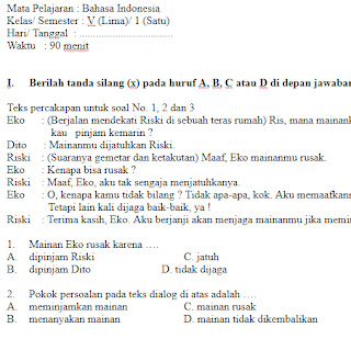 Soal-UKK-UAS-Bahasa-indonesia-kelas-5-SD-Semester-1