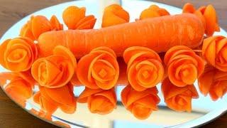 Art In Carrot Rose Flower | Vegetable Carving Garnish | Food Decoration | Party Garnishing