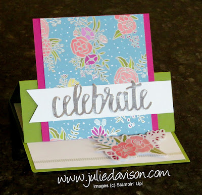 VIDEO tutorial for Stampin' Up! Sweet Soiree Easel Card ~ 2018 Occasions Catalog ~ Celebrate You Thinlits ~ 2018 Sale-a-Bration ~ www.juliedavison.com