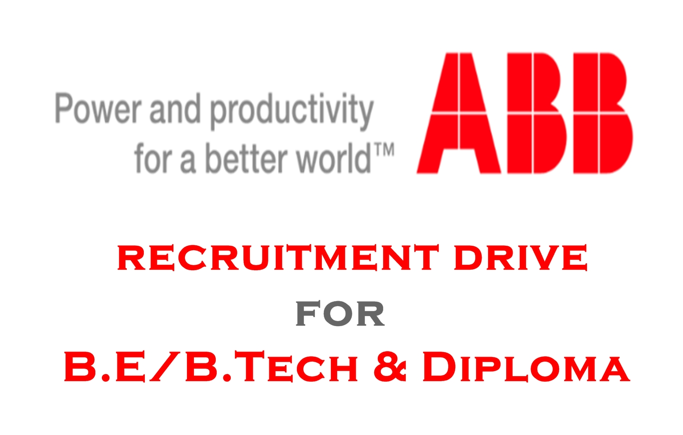 ABB INDIA RECRUITMENT DRIVE FOR PROJECT ENGINEER - FRESHER