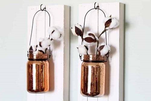 mason jar on wood hanging wall art