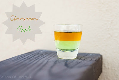 cinnamon apple cocktail shot, sour apple pucker, fireball whisky, cinnamon whisky