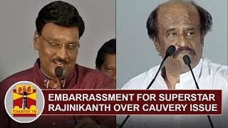 Embarrassment for Superstar Rajinikanth over Cauvery Water Issue | K. Bhagyaraj | Thanthi Tv