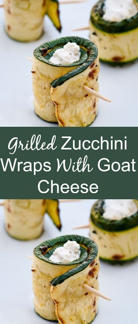 Grilled Zucchini Wraps With Goat Cheese #zucchini #appetizer #wrap #cheese