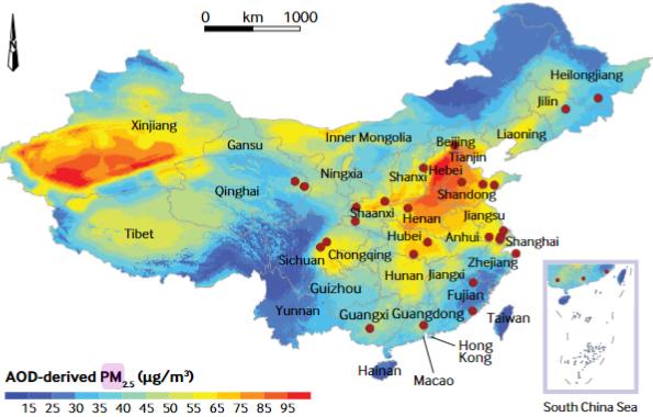 図:中国の光学透過度 大気汚染