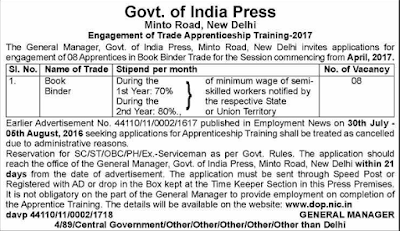 Government of India Press Recruitment 2017 dop.nic.in