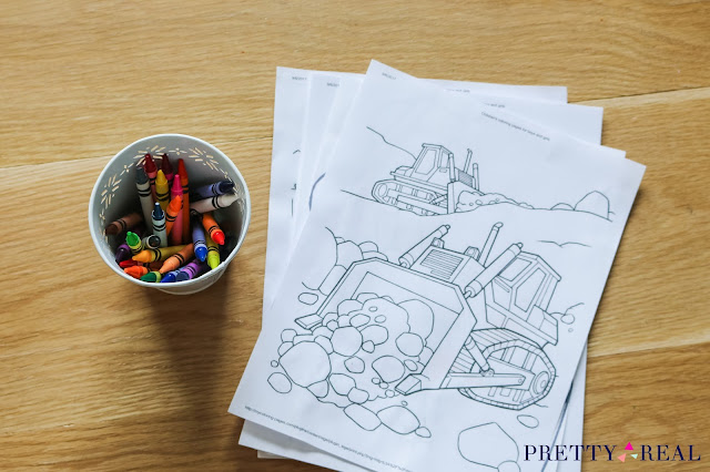 construction party coloring pages and crayons as construction party activities