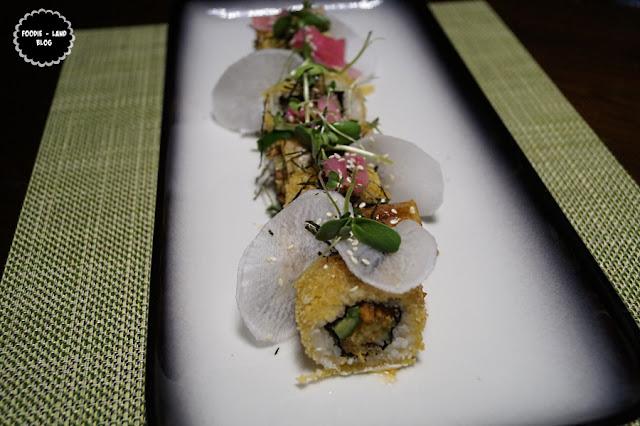 Crispy duck sushi