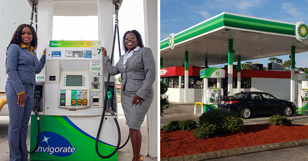 Jasmine Brown and Kimberly Claridy Walker, Black woman owners of a BP gas station in Jacksonville, Florida
