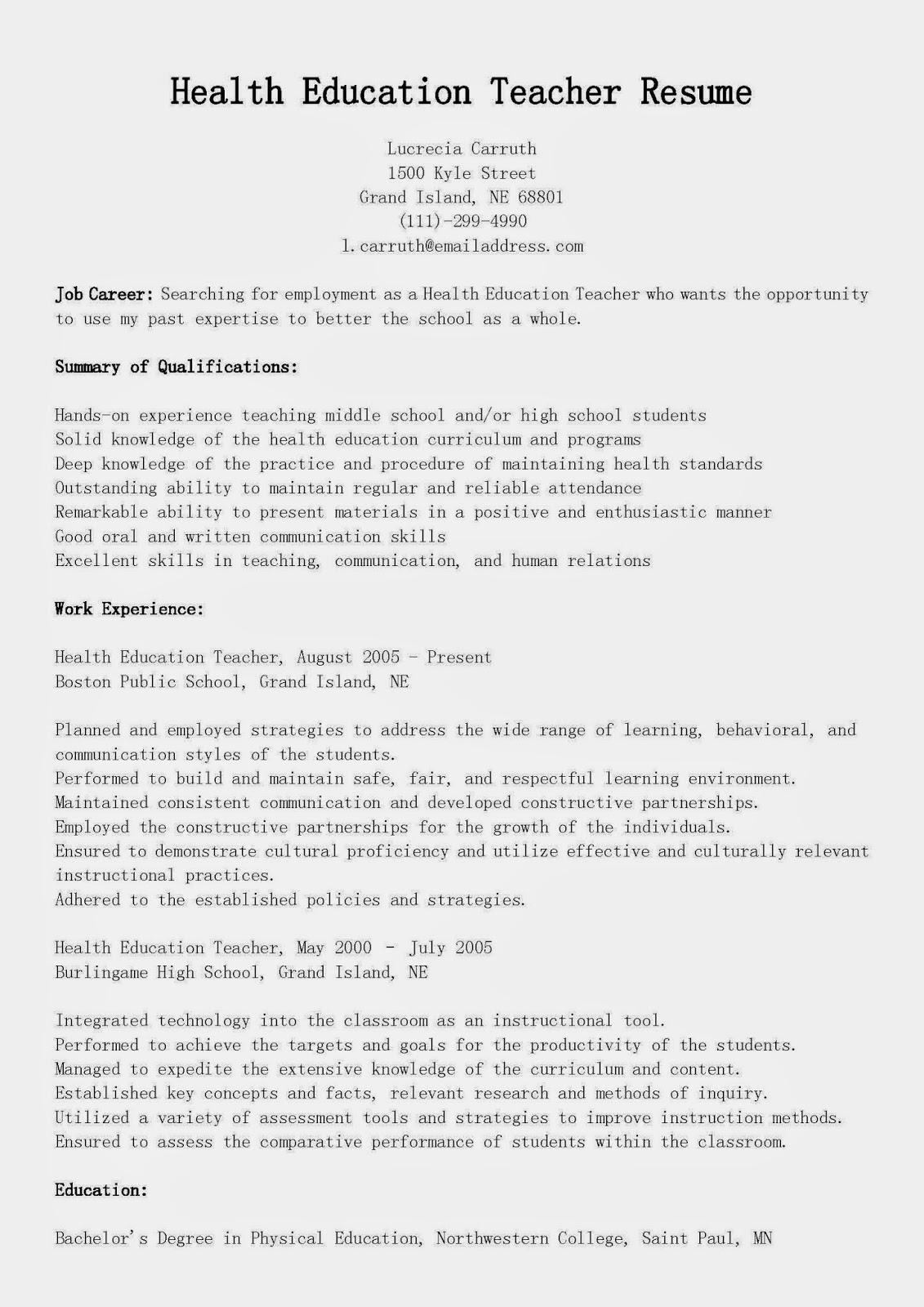 resume samples  health education teacher resume sample