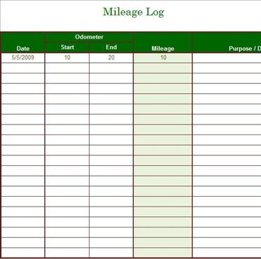 Travel Mileage Tracker Template