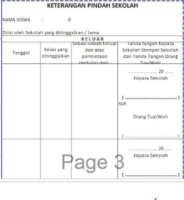 Keterangan Pindah Sekolah (Keluar / Masuk) Pada Raport KTSP SD, http://www.librarypendidikan.com/