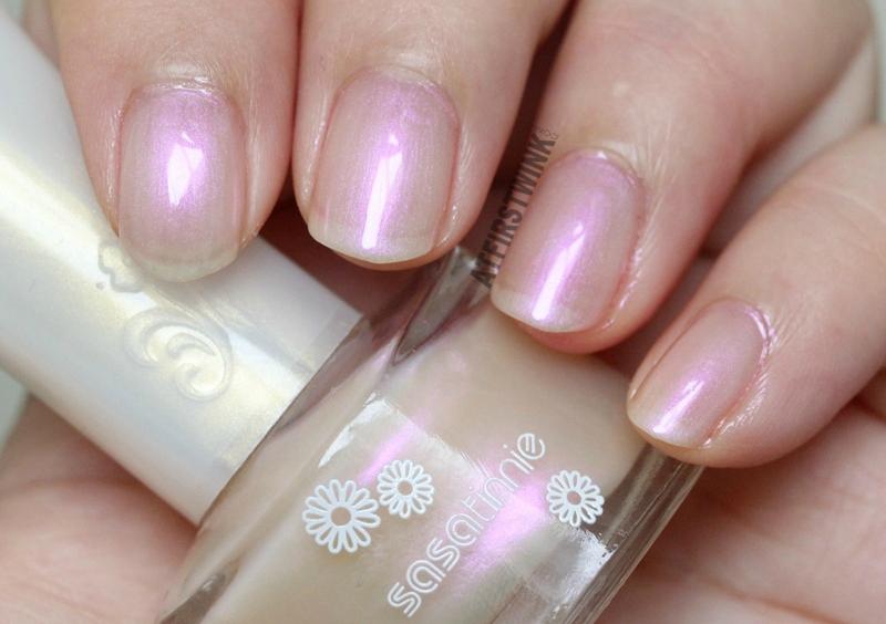Sasatinnie nail polish P605 - Orchid pearl pink sheen nail swatch