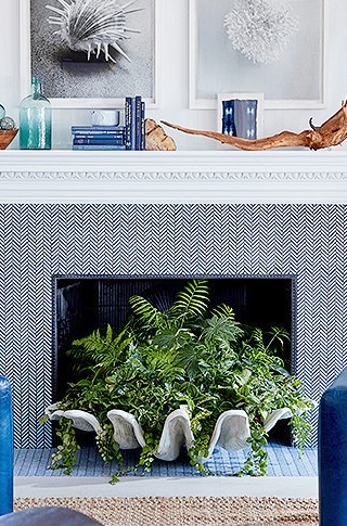 Clam Shell Planter Decor Idea Fireplace
