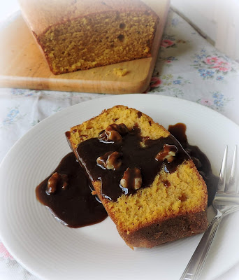 Pumpkin Pound Cake with a Caramel Walnut Sauce