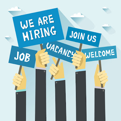 "Image of illustrated hands holding signs that read: ""We're Hiring, Join Us, Welcome, Vacancy, Job."