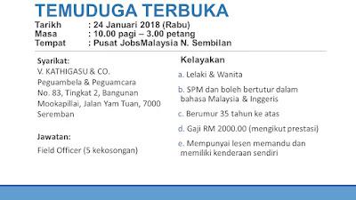 Temuduga Terbuka Field Officer dan Perunding Takaful pada 24 Januari di JobsMalaysia Negeri Sembilan