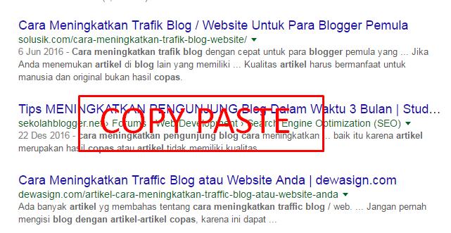 Cara meningkatkan trafik blog dengan artikel copas