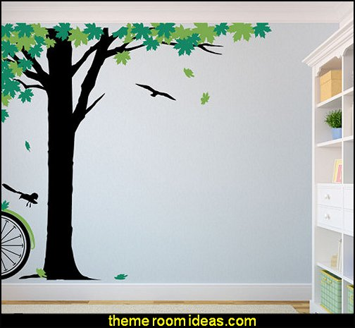 Maple Afternoon Green Wall Decal   Tree Murals - tree wall decals - tree wall murals - Tree Wallpaper - tree wall stickers -  decorating with trees - tree wallpaper mural - Outdoor Bedroom decorating ideas - birch trees - forest trees wallpaper murals - tree props