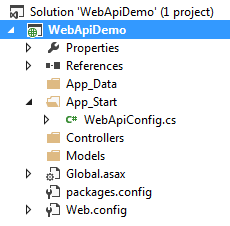 Asp.net web api empty folder structure