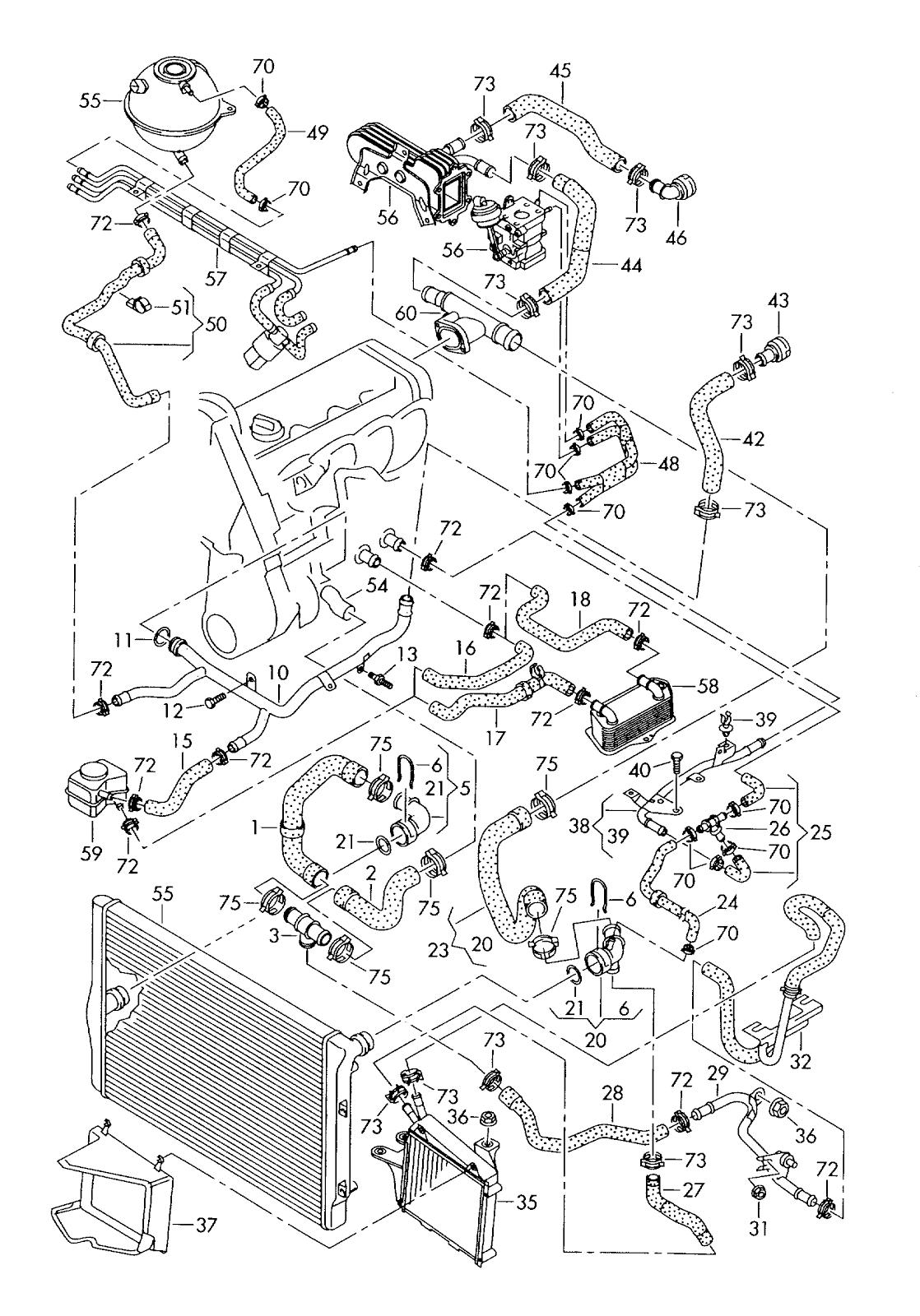 VW Golf 5: 2.0 ltr.diesel eng coolant cooling system
