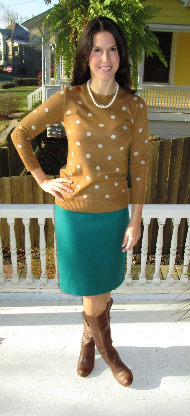 a2461e886 Collection cashmere polka dot in caramel/dusk: J.Crew, other colors here.  Double serge wool No. 2 pencil skirt in vivid jade: J.Crew, here